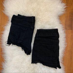 Pants - 2 pairs of black denim cut off shorts
